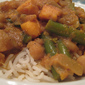 Indian-style curry with sweet potatoes, eggplant, green beans and chickpeas