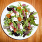Mesclun Mix with Goat Cheese, Apricots, Prosciutto and Vino Cotto (Vincotto)