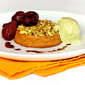 Small Plates Menu: Honey Glazed Pistachio Financier with Black Tea Poached Prunes