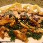 Simple Garlic & Lemon Chicken Strips with Spinach & Sautéed Fresh Bread Crumbs