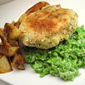 Baked Fishcake and Mushy Pea Supper