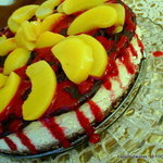 Chocolate Raspberry Peach CHEESECAKE