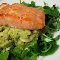 Grilled Salmon with Butterbean and Avocado Mash