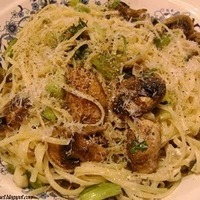 "Spaghetti with a ""Light Mushroom & Scallion Alfredo"""
