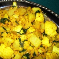 Yellow Split Peas with Vegetables (Dal Takari)
