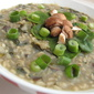 Wholegrain Congee with Chestnut Mushroom, Spinach and Spring Onions