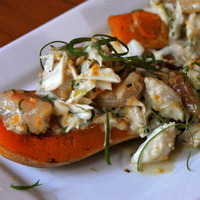 Orange Shrimp and Crab Stuffed Roasted Butternut Squash