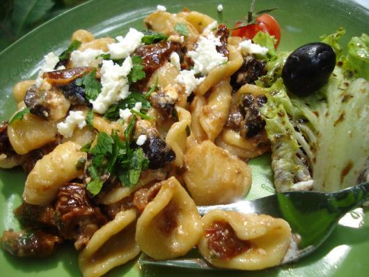 Orecchiette pasta with sun-dried tomato and black olive sauce