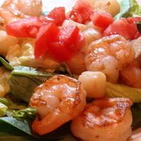 Shrimp & Scallops Salad in Wine Reduction Sauce