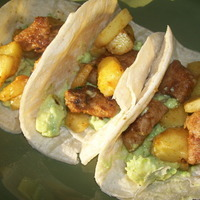 Pineapple and Pork Tacos with Avocado Crema