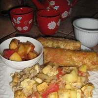 Apple Fried Rice with Egg Roll