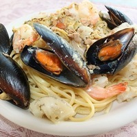 Seafood Medley Over Linguine With White Clam Sauce