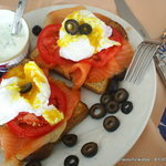 Eggs Benny Salmon Benedict -- special sauce