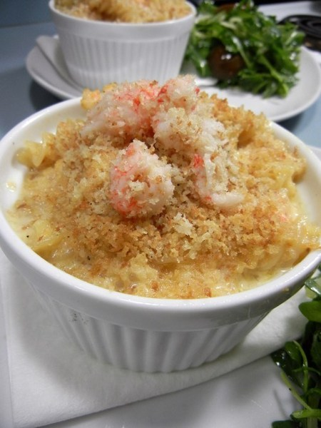 Creamy Curry Cheese and Macaroni with Langostino Tails and Black Truffle Oil