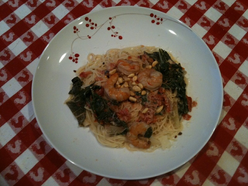 Pasta with Shrimp and Swiss Chard