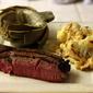 Wednesday: Steak, Cheesy Roasted Cauliflower, Steamed Artichokes