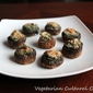 Stuffed mushrooms with creamed spinach and nut filling