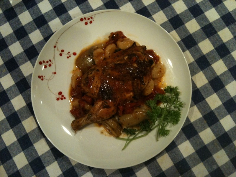 Cornish Hen with artichoke hearts, fire-roasted tomatoes, and gnocchi