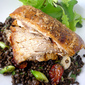 Pork Belly with Lentils and Slow Roasted Tomato Salad