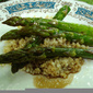 Baked asparagus with balsamic sauce and bulgur