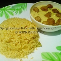 SOYABEAN KADHI WITH SPICY COCONUT RICE