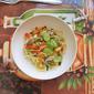 Capellini Aglio e Olio with Zucchini, Bell Peppers, Mushrooms