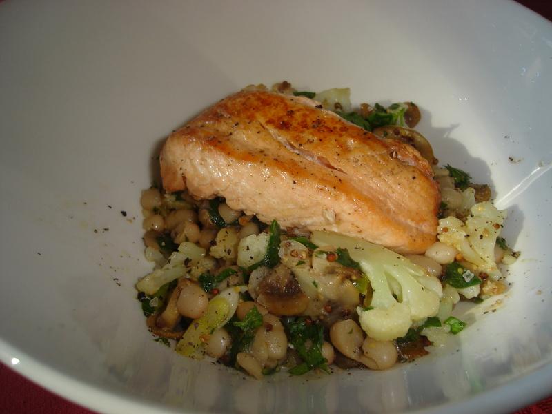 Oven Roasted Salmon w. Cauliflower & White Bean Sauté ...