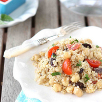 Quinoa Salad with Chickpeas, Kalamata Olives & Mint Recipe