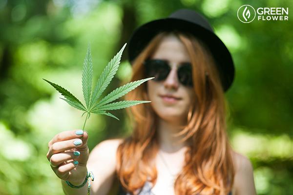 lady with cannabis leaf