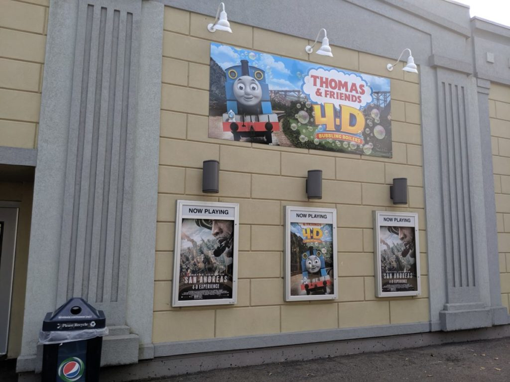 4-D Theater at Kennywood Park with posters for Thomas & Friends and San Andreas movies