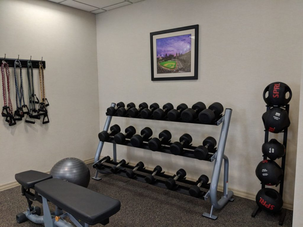 Keep fit at the exercise center at Crowne Plaza Pittsburgh Bethel Park with the weights available to guests