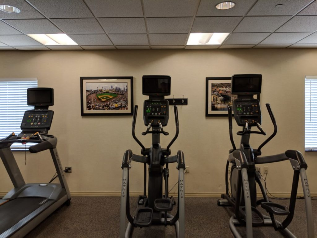 Work out during your Pittsburgh vacation at the fitness center free for guests at Crowne Plaza