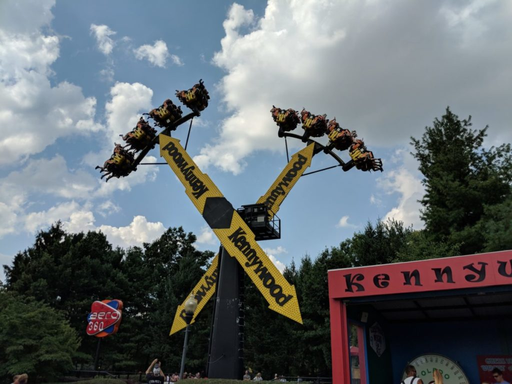 A picture of a thrill ride at Kenywood theme park in West Mifflin, PA. A good hotel for a Kennywood trip would be Crowne Plaza Pittsburgh South