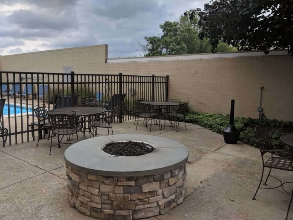Warm up in the winter at the firepit by the outdoor pool at Crowne Plaza Pittsburgh South