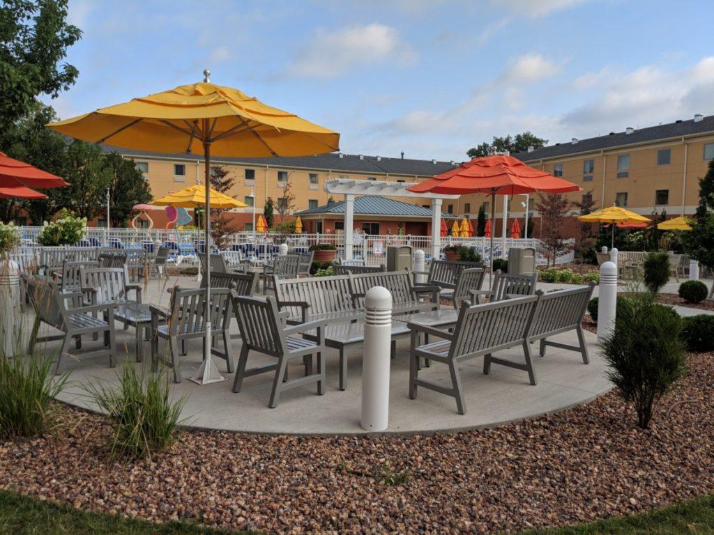 Cedar Point Express Hotel in Sandusky Ohio is shaped around the courtyard