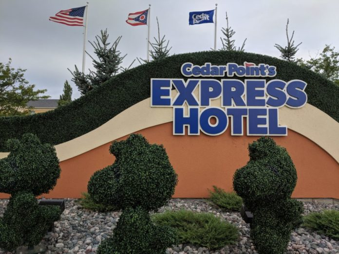 See Peanuts characters when you drive up to Cedar Point's Express Hotel outside Sandusky Ohio
