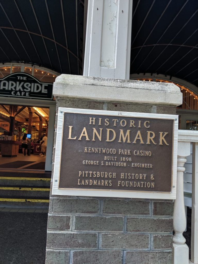 Historic Landmark plaque for Kennywood Park Casino in what is now the Parkside Cafe