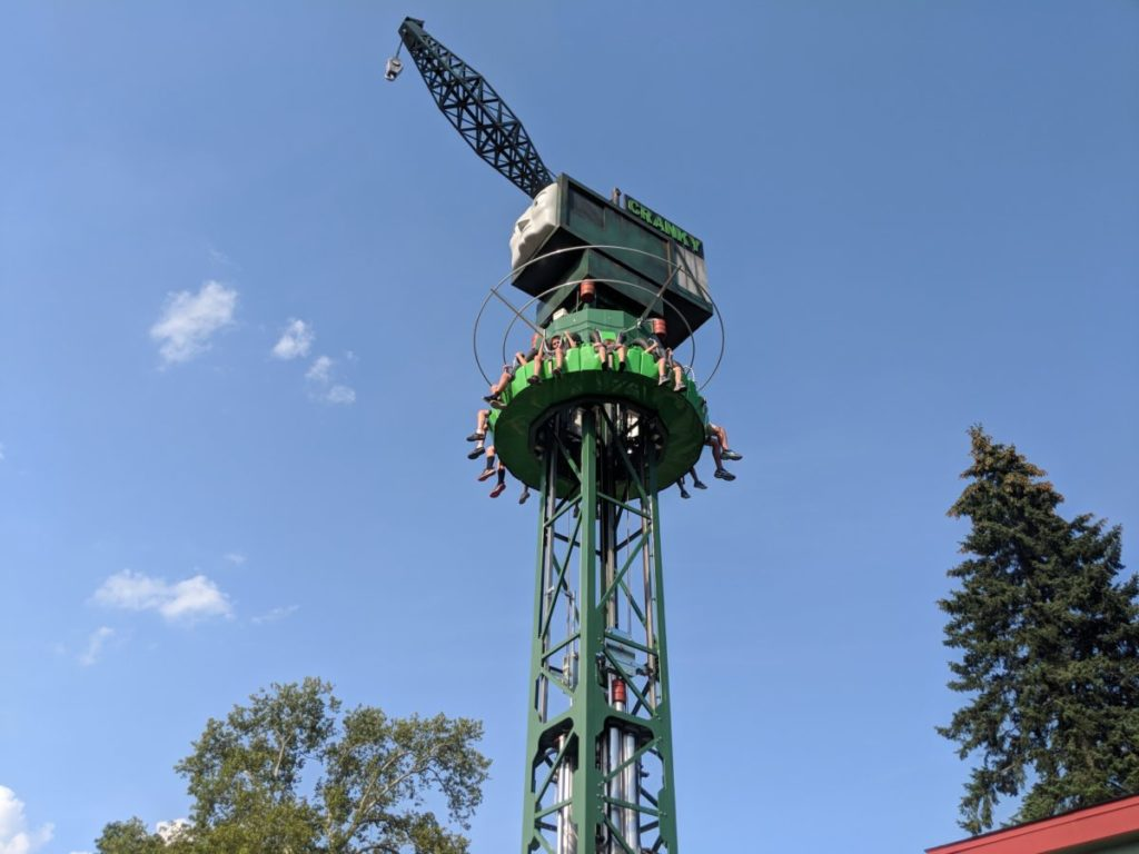 Cranky's Drop Tower ride in Thomas Town at Kennywood Park