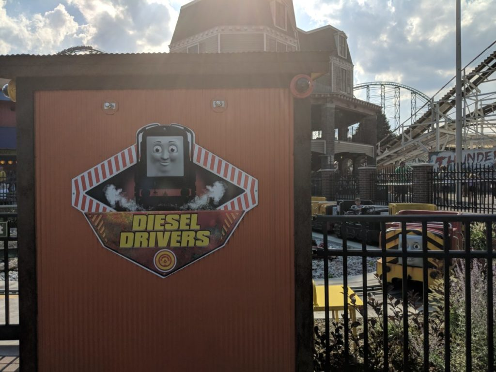Diesel Drivers Kennywood Park ride in Thomas Town section for kids and families