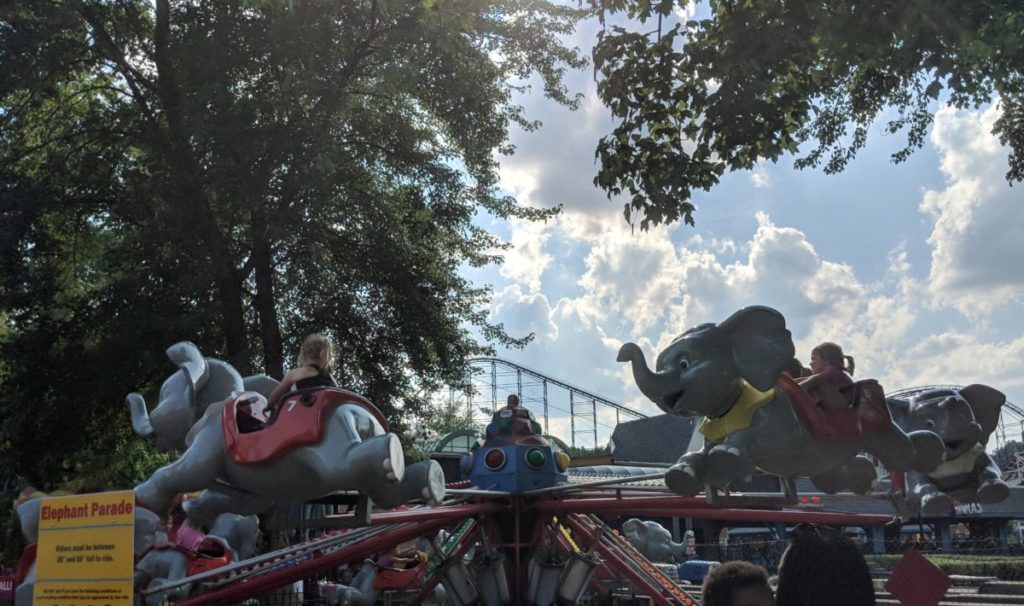 Elephant Parade ride at Kiddieland in Kennywood Park in Pittsburgh Pennsylvania