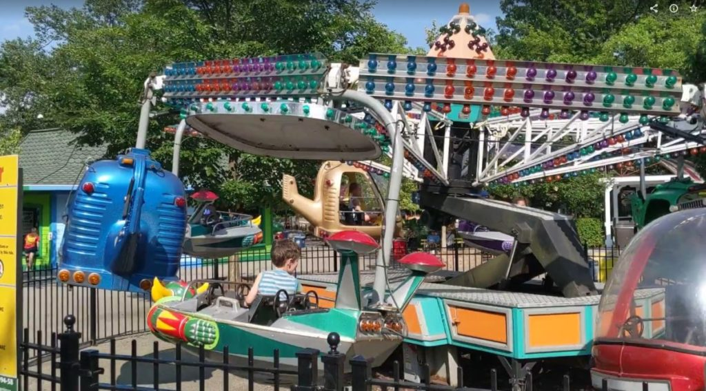 Orbiter children's ride with flying spaceships at Kiddieland in Kennywood Park in Pittsburgh