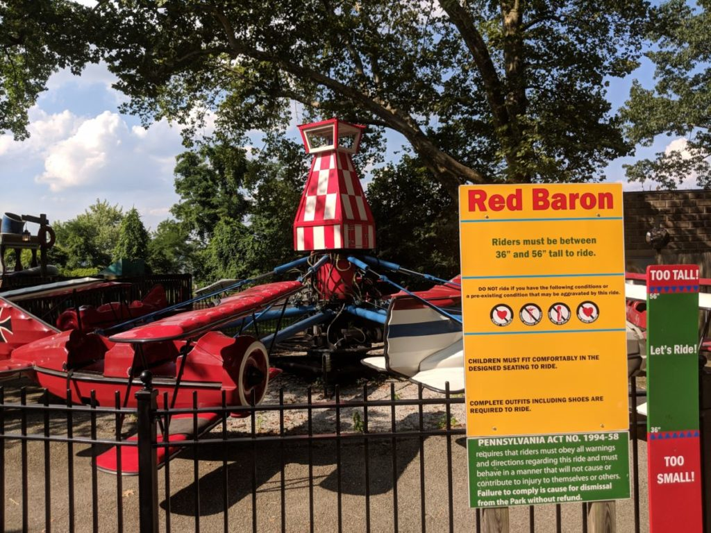 Red Baron plane ride for kids at Kennywood theme park