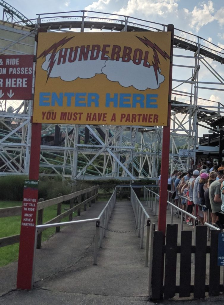 Thunderbolt roller coaster at Kennywood theme park in Pittsburgh Pennsylvania