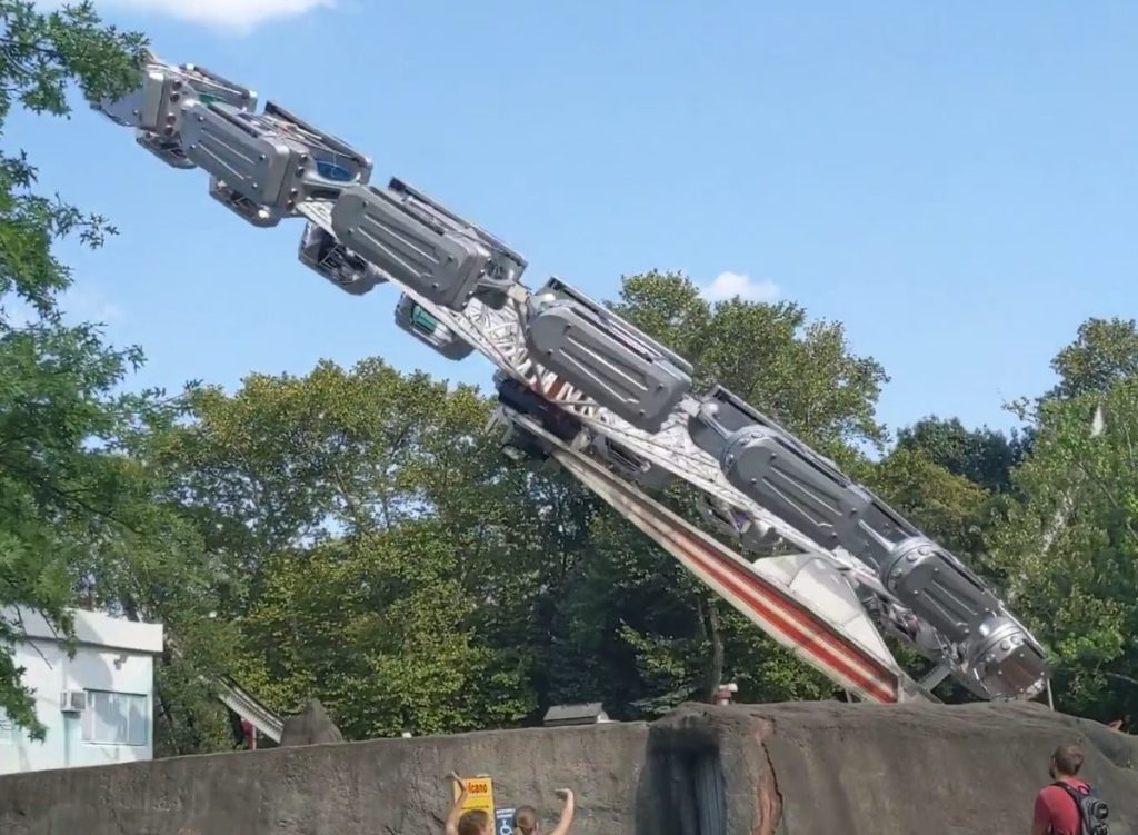 Volcano thrill ride in mid-air at Kennywood amusement park in Pittsburgh Pennsylvania