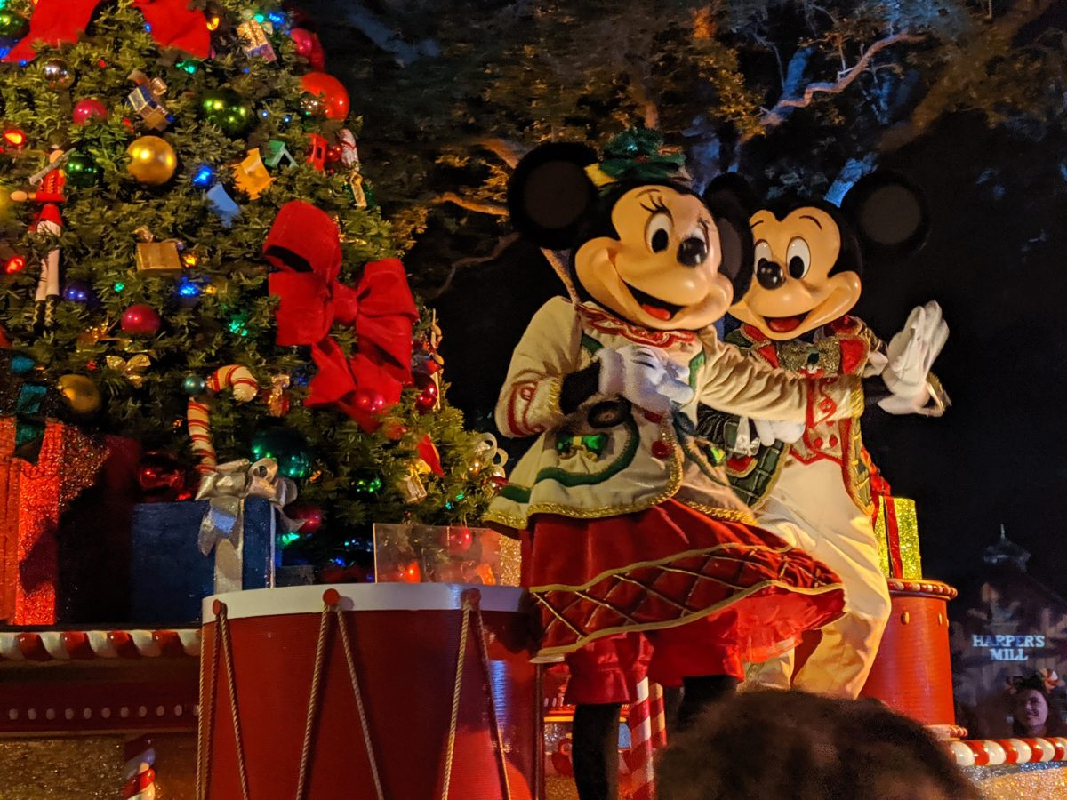 Mickey & Minnie's float at Once Upon A Christmastime Parade at Disney World