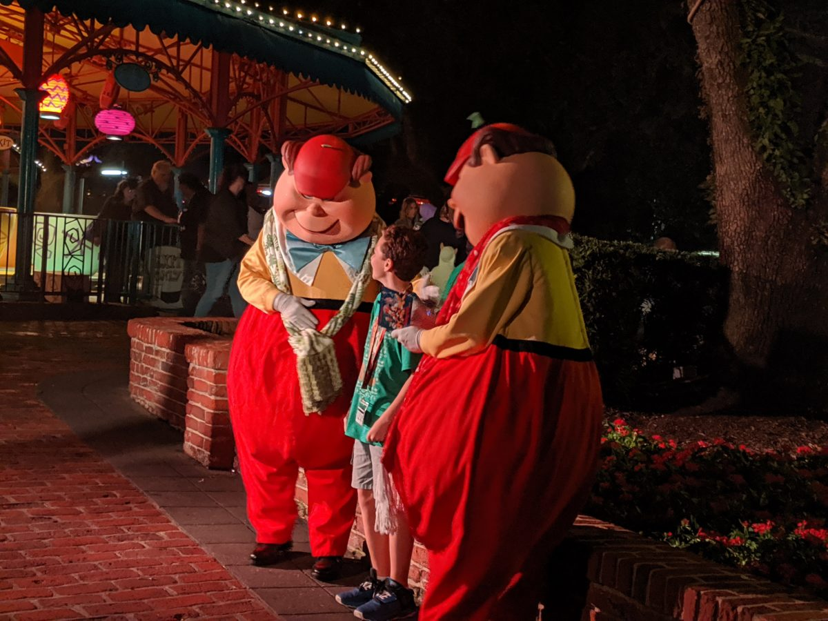Tweedle Dee and Tweedle Dum are character meet & greets available at Mickey's Very Merry Christmas Party