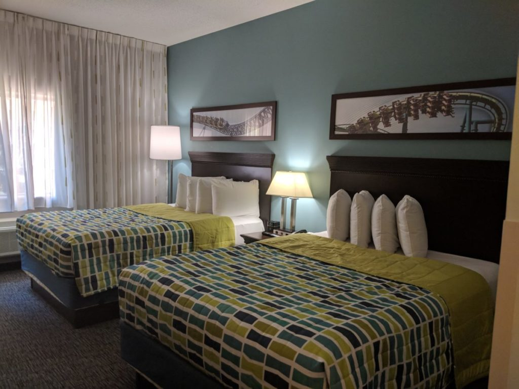Roller coaster pictures adorn the beautiful decorated guest rooms for families of four at Cedar Point Express Hotel