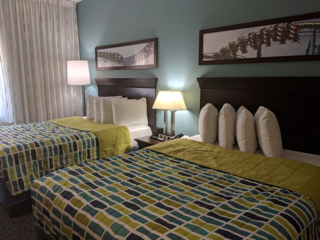 Cedar Point Express Hotel guest rooms have comfortable queen beds