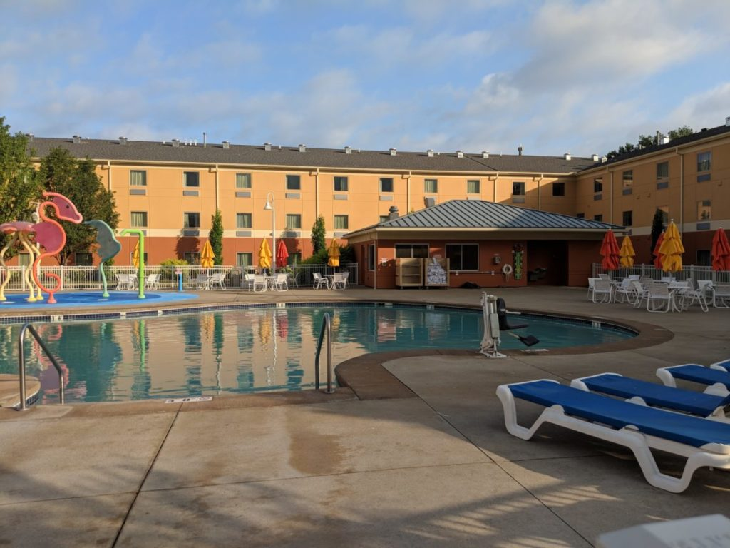 Cool off in the afternoon in Sandusky, Ohio at Cedar Point Express Hotel's pool