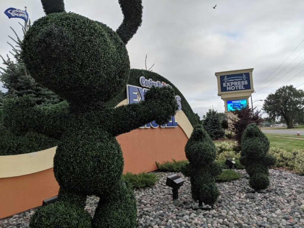 PEANUTS character topiaries are part of the family friendly feel of Cedar Point Express Hotel in Ohio